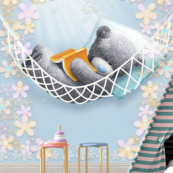Wall Murals: Bear sleeping in a hammock