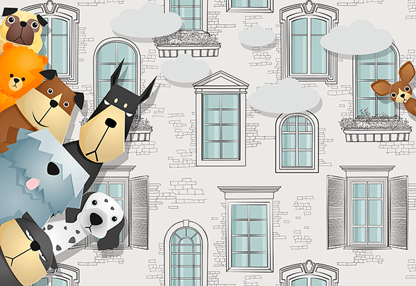Wall Murals: Spy dogs