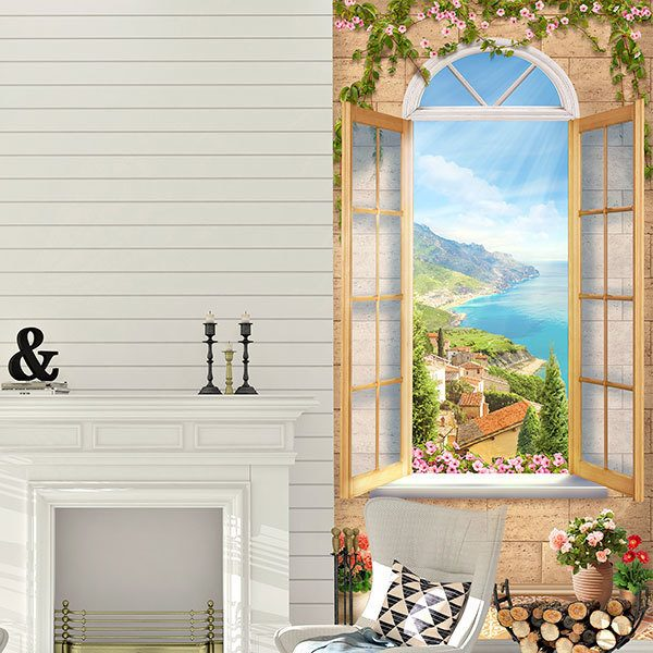 Wall Murals: Window in coastal village