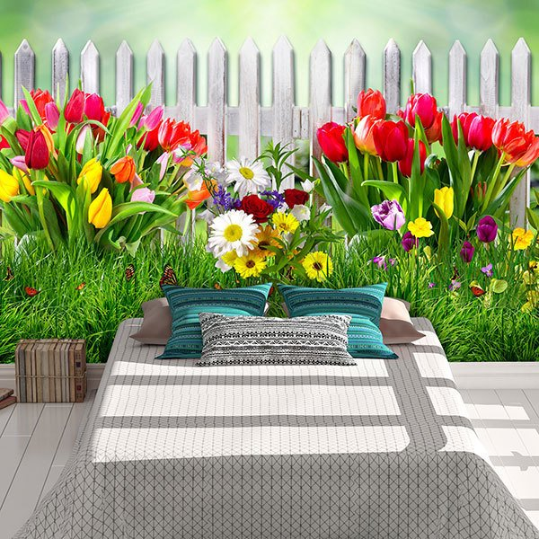 Wall Murals: Fence with tulips 0