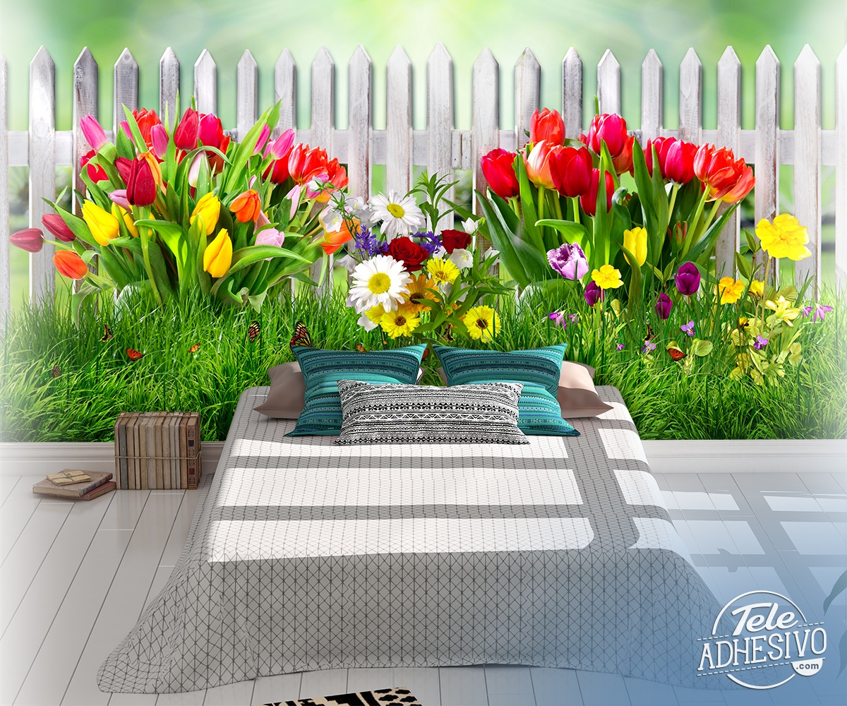 Wall Murals: Fence with tulips