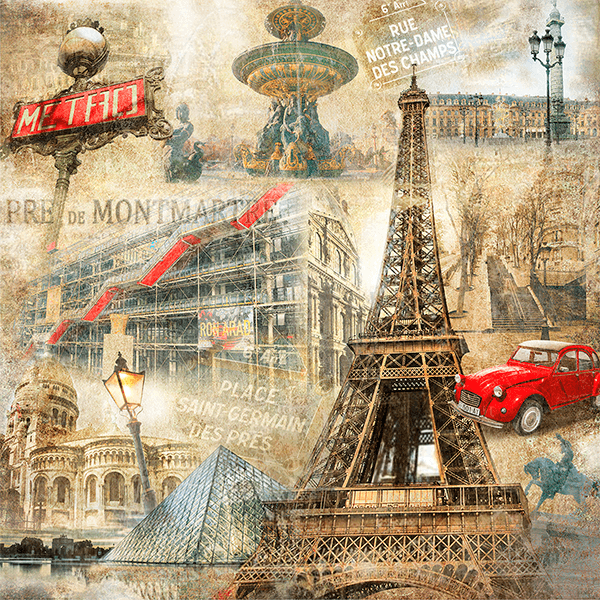 Wall Murals: Collage of Paris