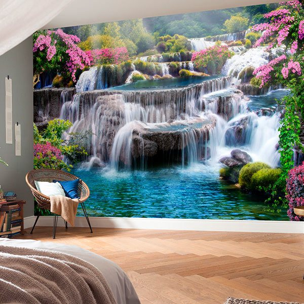 Wall Murals: Garden of large waterfalls