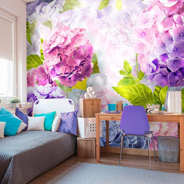 Wall Murals: Hydrangeas violets and roses