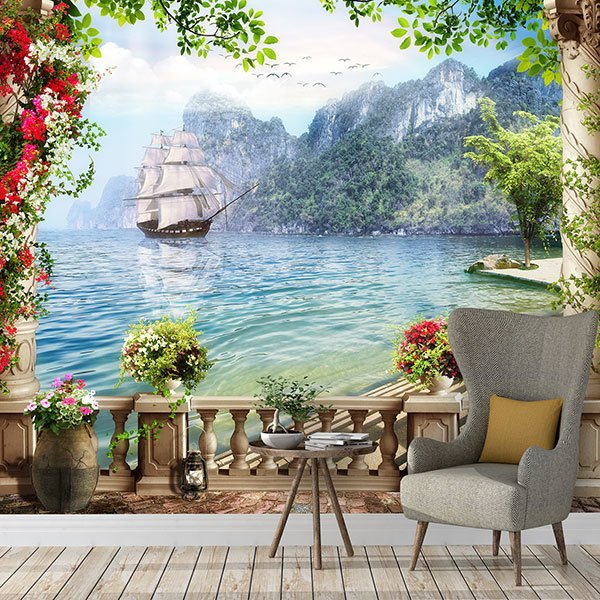 Wall Murals: Galleon sailing in the fjords
