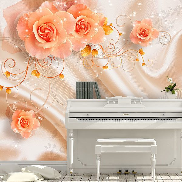 Wall Murals: Roses among silks