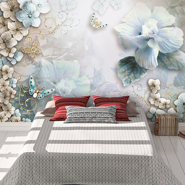 Wall Murals: Diamond flowers and butterflies 0