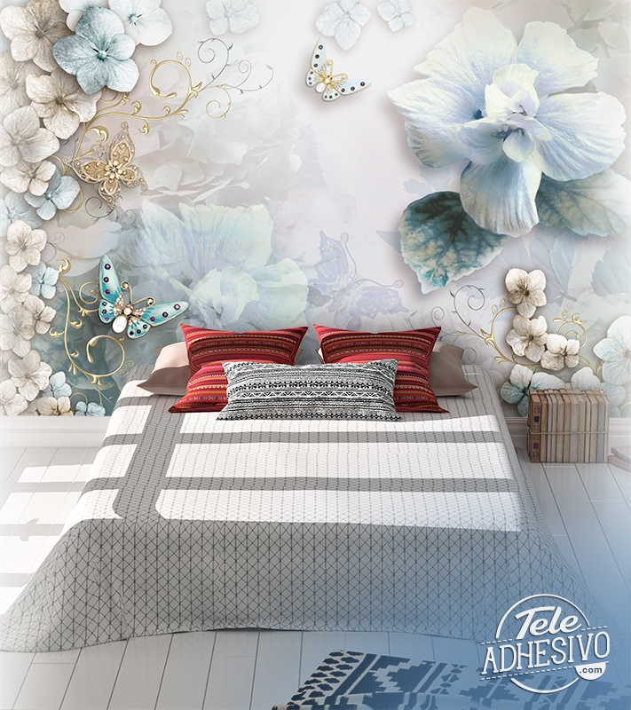 Wall Murals: Diamond flowers and butterflies