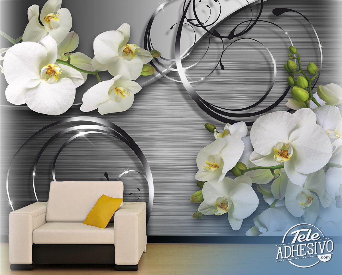 Wall Murals: Orchids on metal