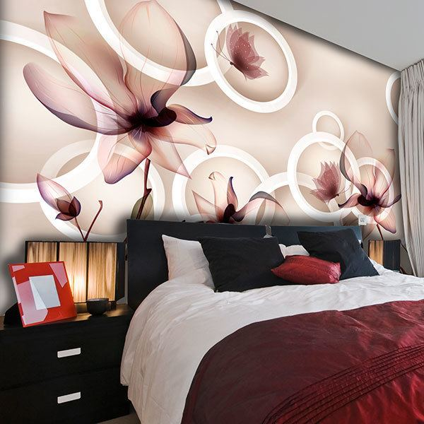 Wall Murals: Flowers, rings and butterflies 0