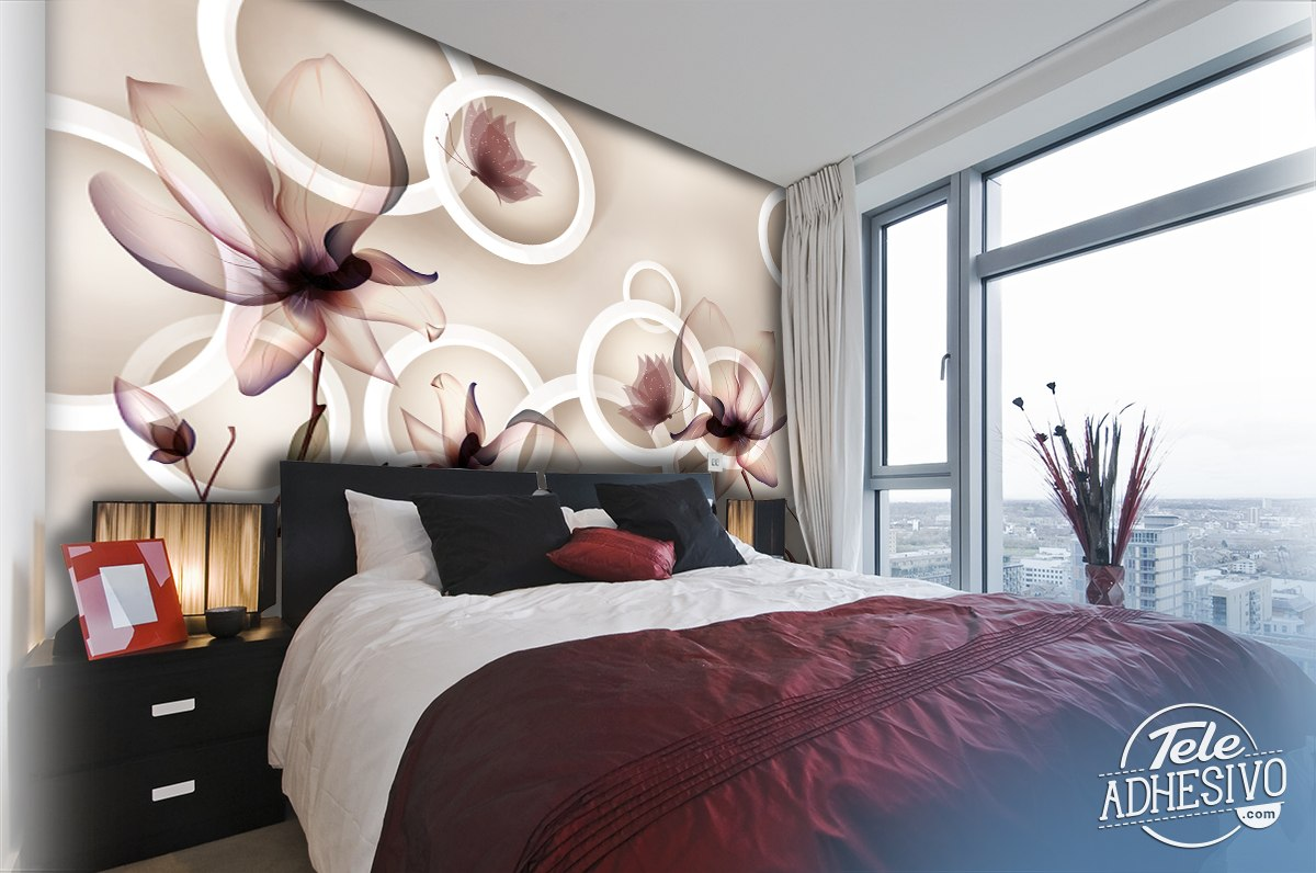 Wall Murals: Flowers, rings and butterflies