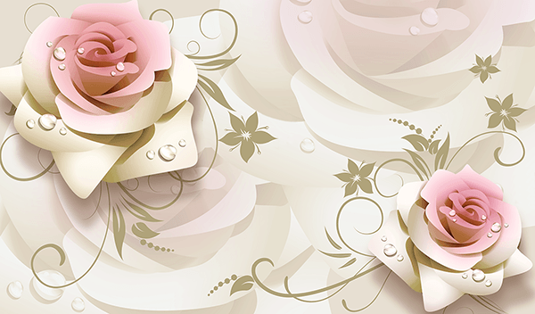 Wall Murals: Illustrated Roses