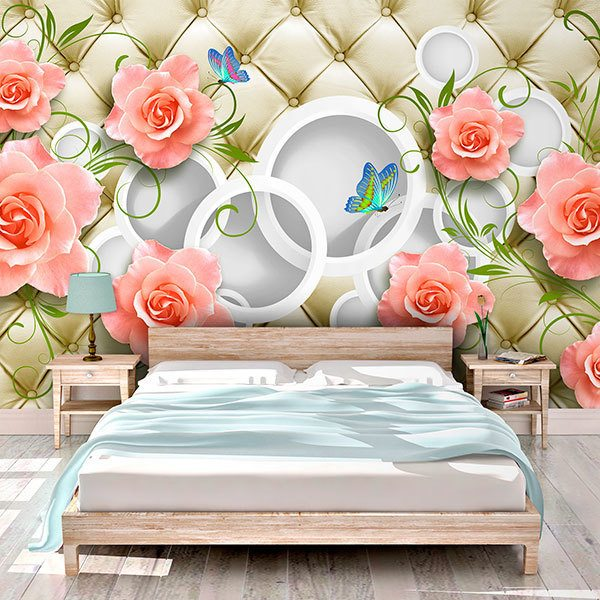 Wall Murals: Headboard quilted with roses