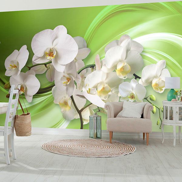 Wall Murals: Orchids on green 0