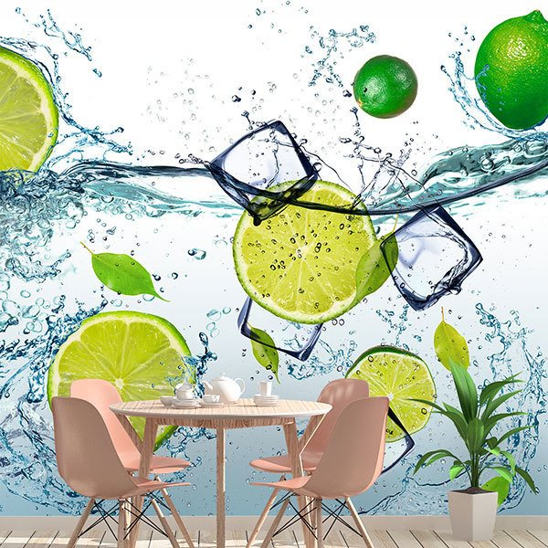 Wall Murals: Limes splashing in water 0