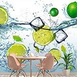 Wall Murals: Limes splashing in water 2