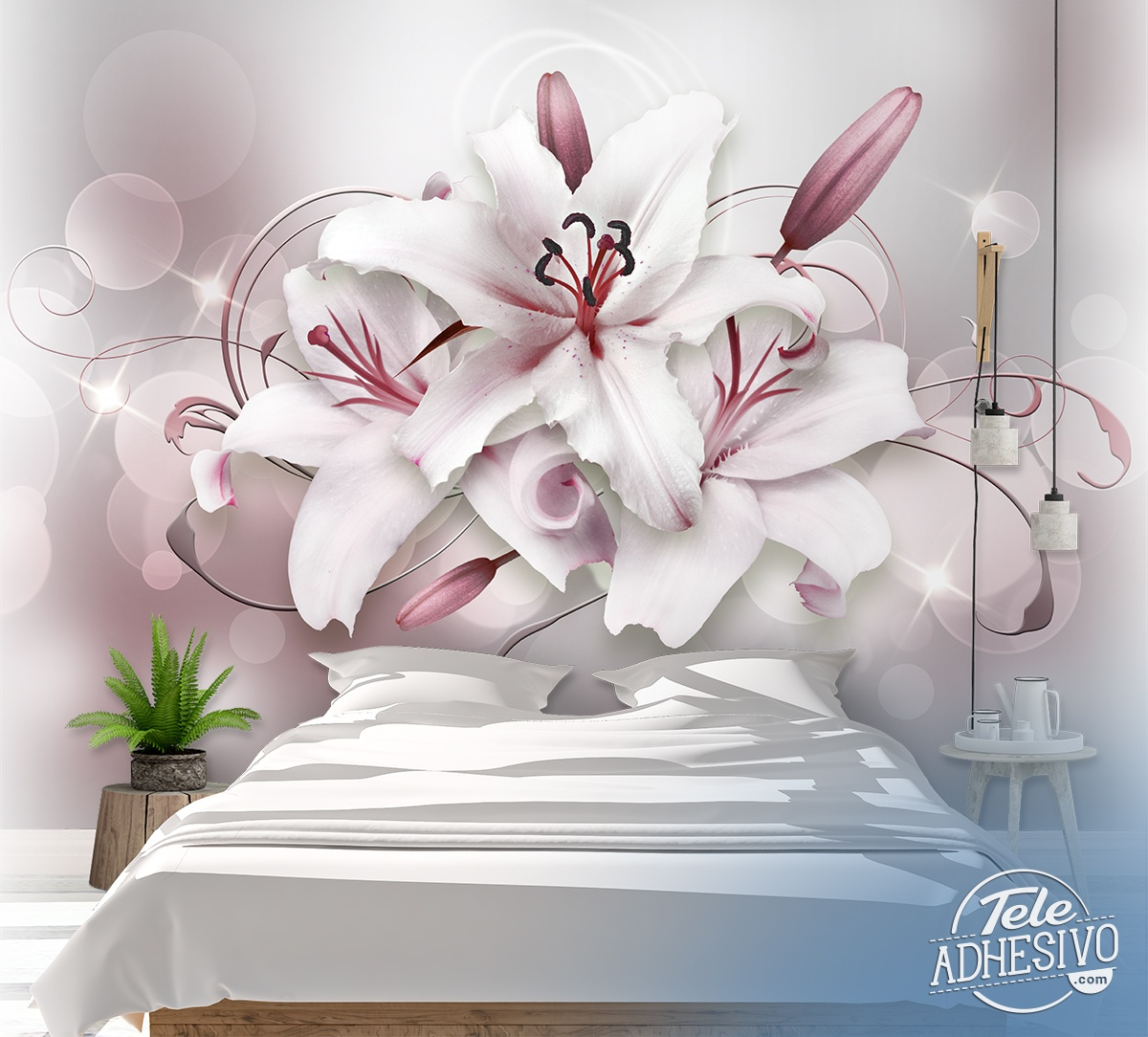 Wall Murals: Bouquet of grey lilies