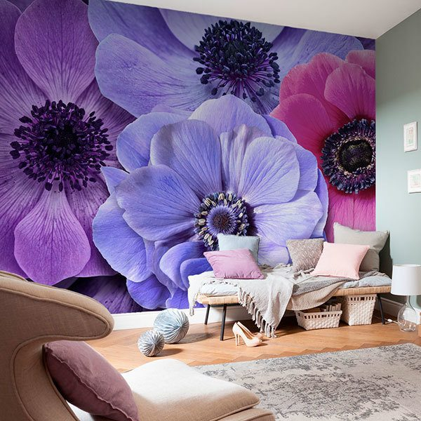 Wall Murals: Flowers in cold tones