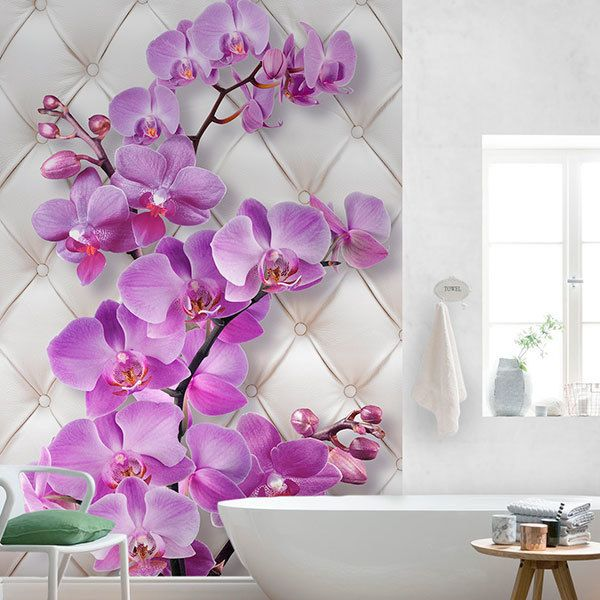 Wall Murals: Violet orchid on a headboard