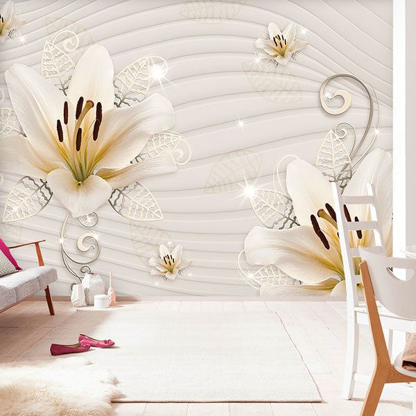 Wall Murals: Lilies with silver 0