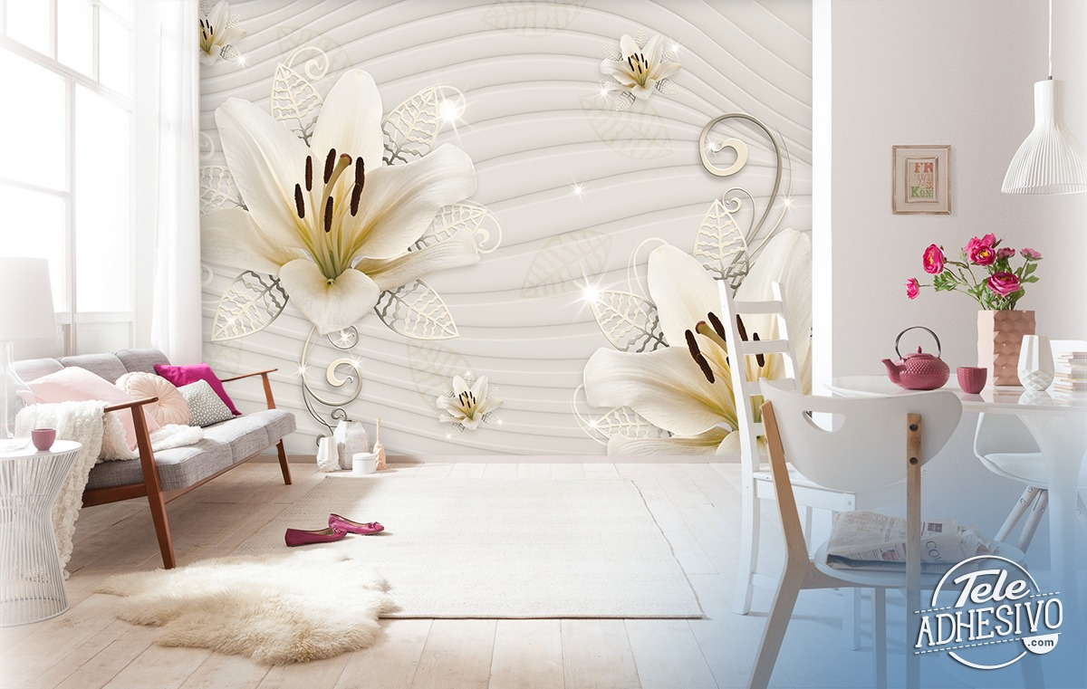 Wall Murals: Lilies with silver