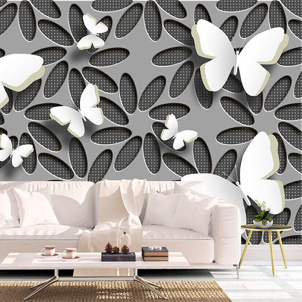 Wall Murals: Collage flowers and butterflies 0