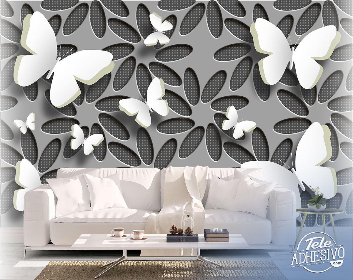 Wall Murals: Collage flowers and butterflies