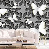 Wall Murals: Collage flowers and butterflies 2