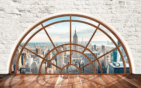 Wall Stickers: Semicircular window New York 0
