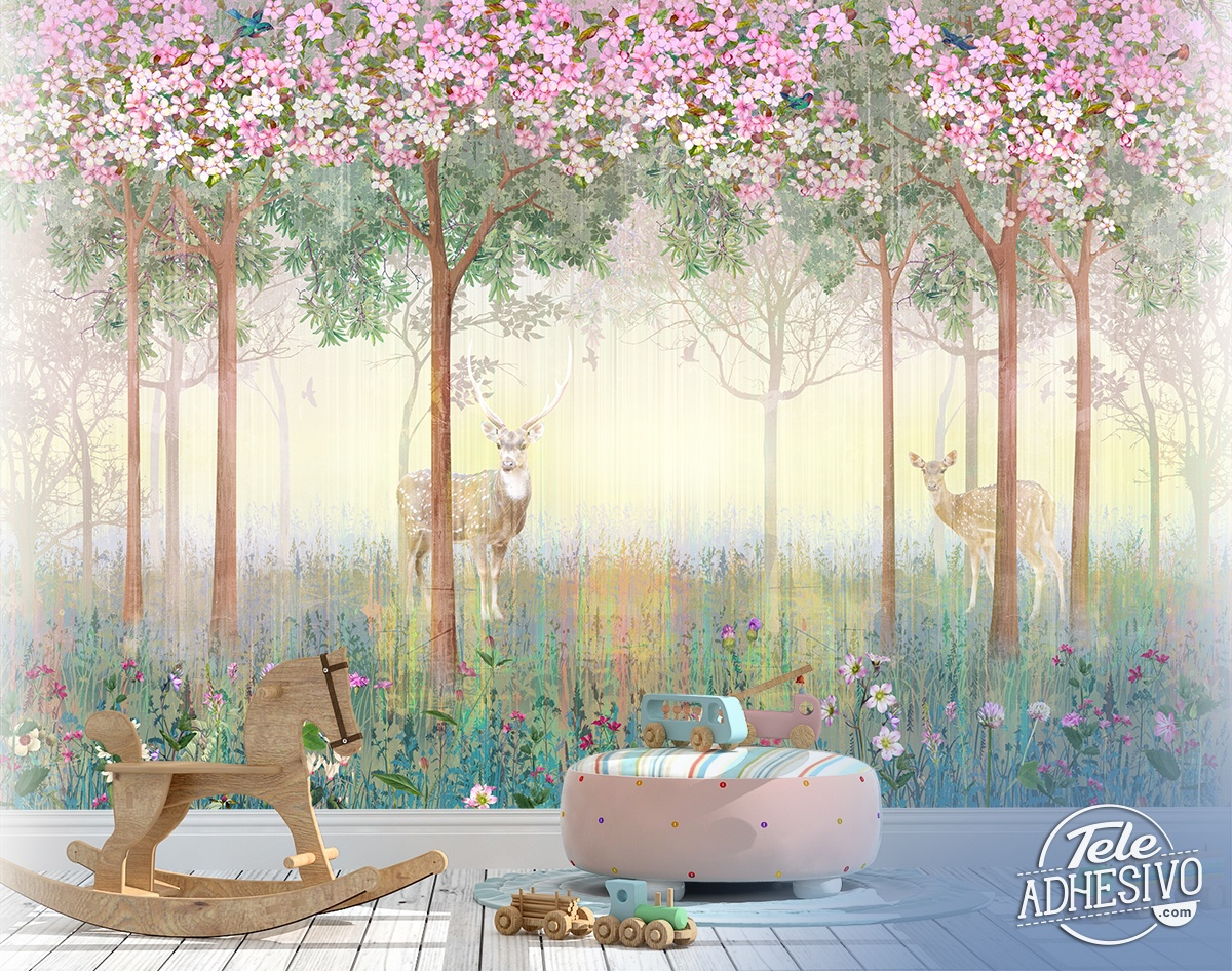 Wall Murals: Deer in spring