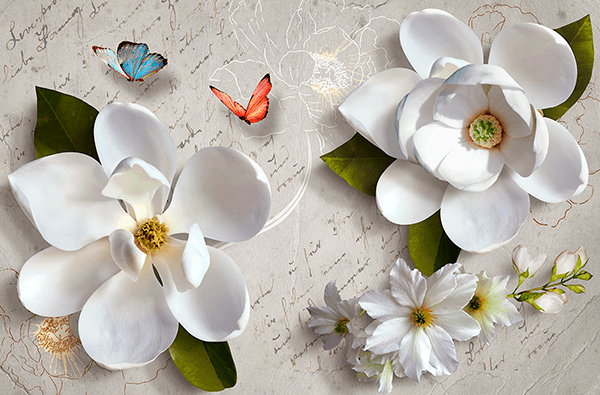 Wall Murals: Flowers on a letter