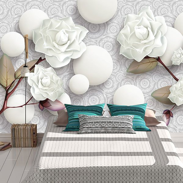 Wall Murals: White roses and stones