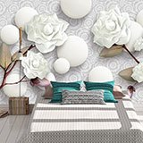 Wall Murals: White roses and stones 2