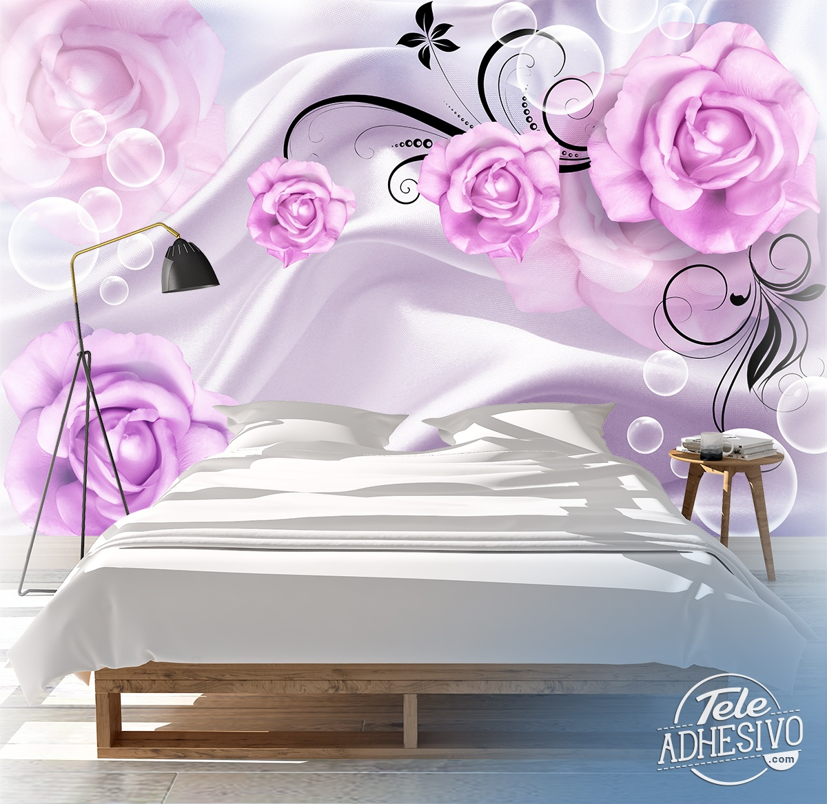 Wall Murals: Violet bubbles and roses