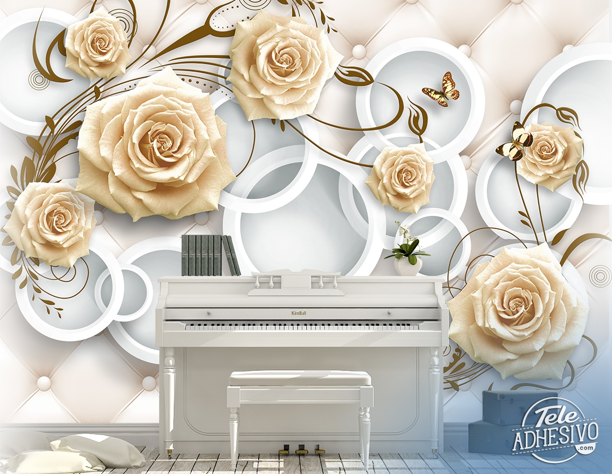 Wall Murals: Headboard with brown roses