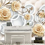 Wall Murals: Headboard with brown roses 2