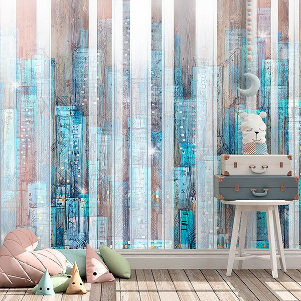 Wall Murals: City painted in wood 0
