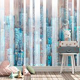 Wall Murals: City painted in wood 2