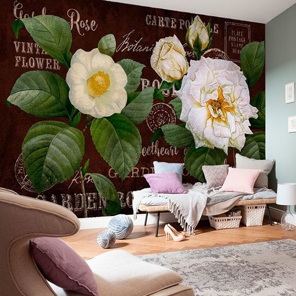 Wall Murals: Postcard flowers