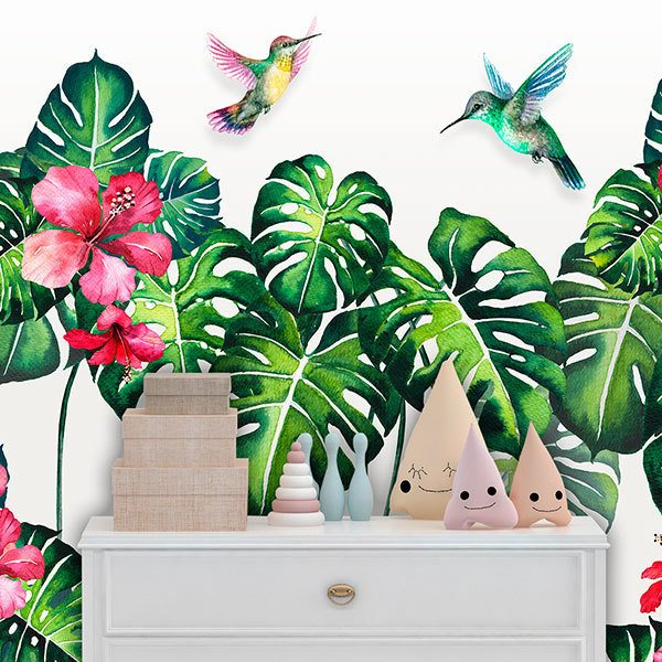 Wall Murals: Hummingbird between Lilies