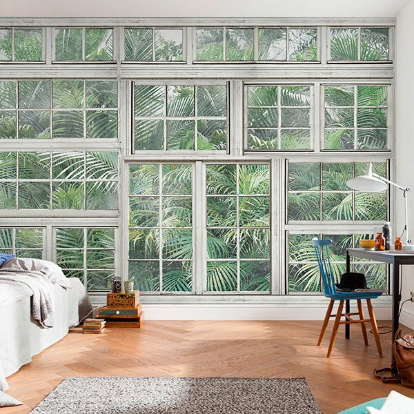 Wall Murals: Palm trees behind windows