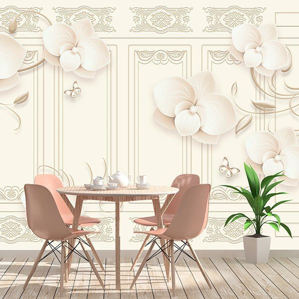 Wall Murals: Classic wall with flowers