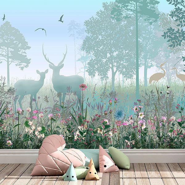 Wall Murals: Forest of flowers and fauna