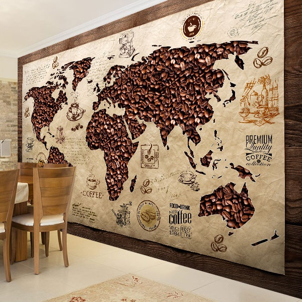 Wall Murals: Coffee World Map