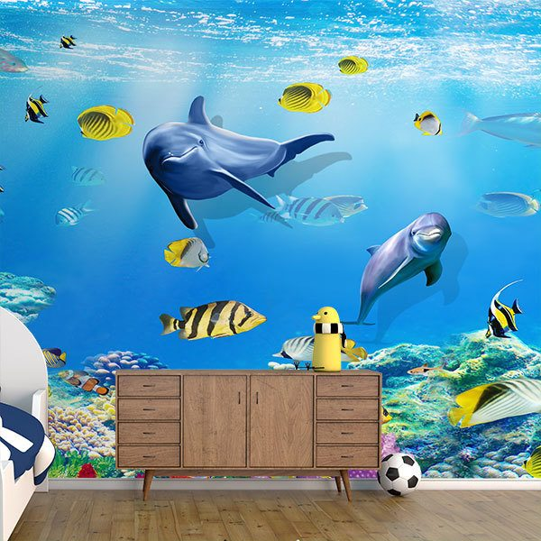 Wall Murals: Dolphins playing among fish