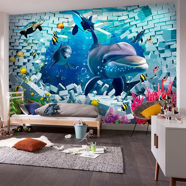 Wall Murals: Dolphins at the bottom of the sea