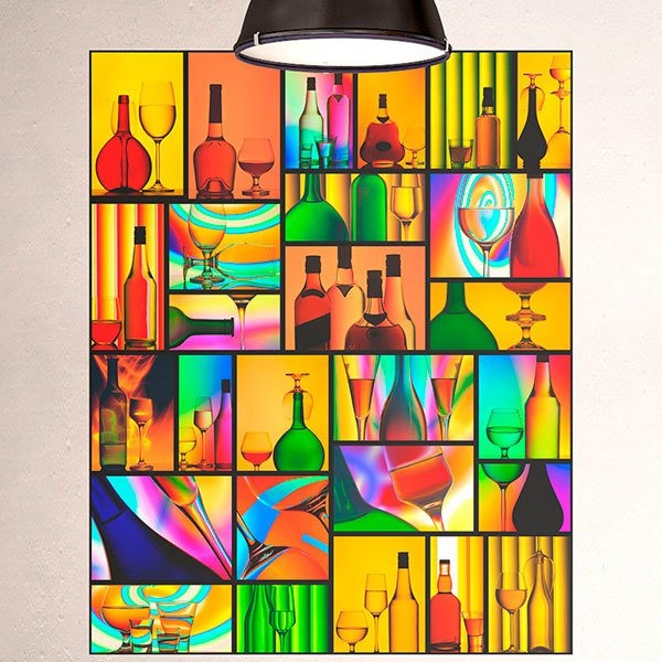 Wall Murals: Collage cups and glasses