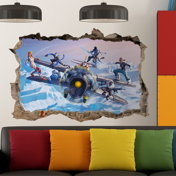 Wall Stickers: Hole Fortnite Airplane