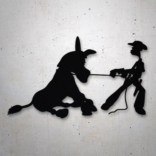 Car and Motorbike Stickers: Cowboy lifting a mule