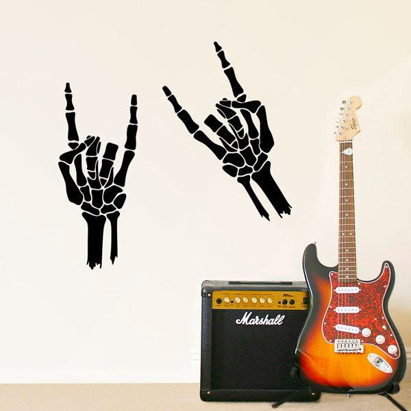 Wall Stickers: Skeleton making horns